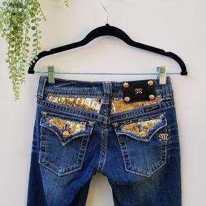 Miss Me Jeans Gold Sequins 26